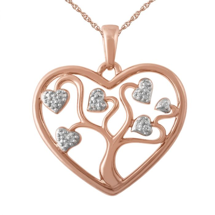 """Diamond Accent Family Tree Pendant with 18"""" Chain"""