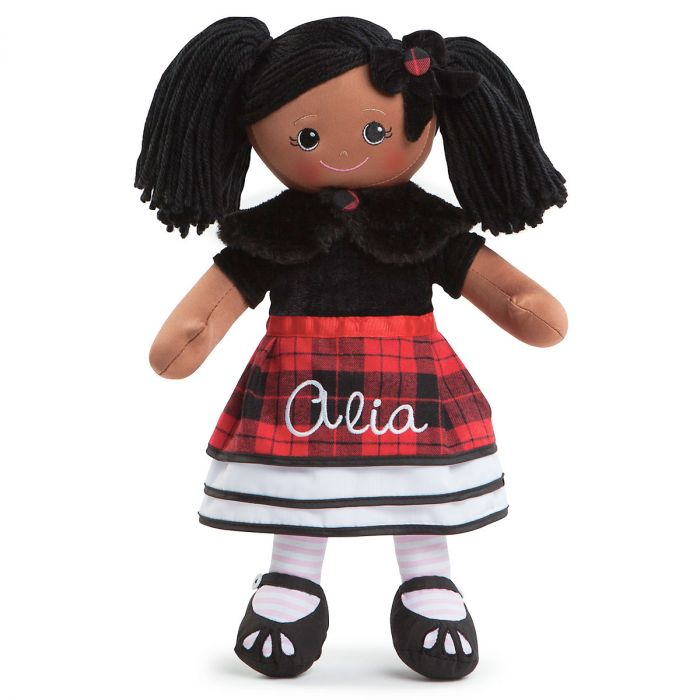 Personalized African American Rag Doll in Plaid Dress