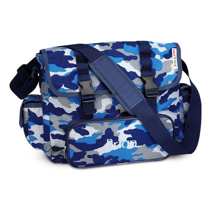 Blue Camo Messenger Bag