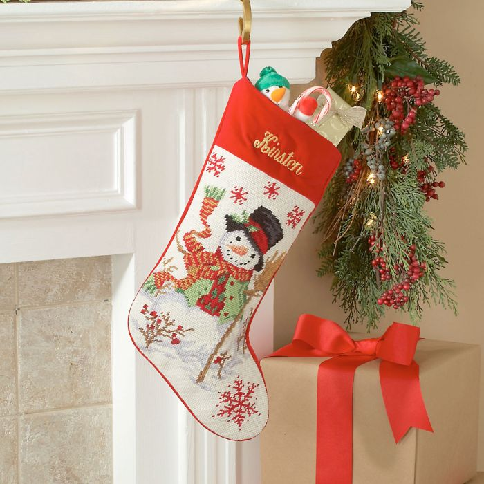 Snowman Heirloom Needlepoint Personalized Christmas Stocking