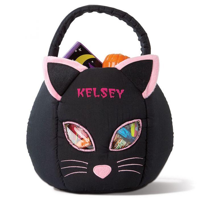 Black Cat Personalized Halloween Treat Bag