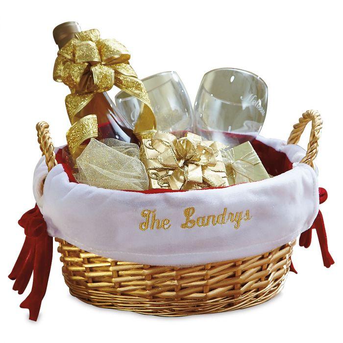 Gold Basket with Red Velvet Liner