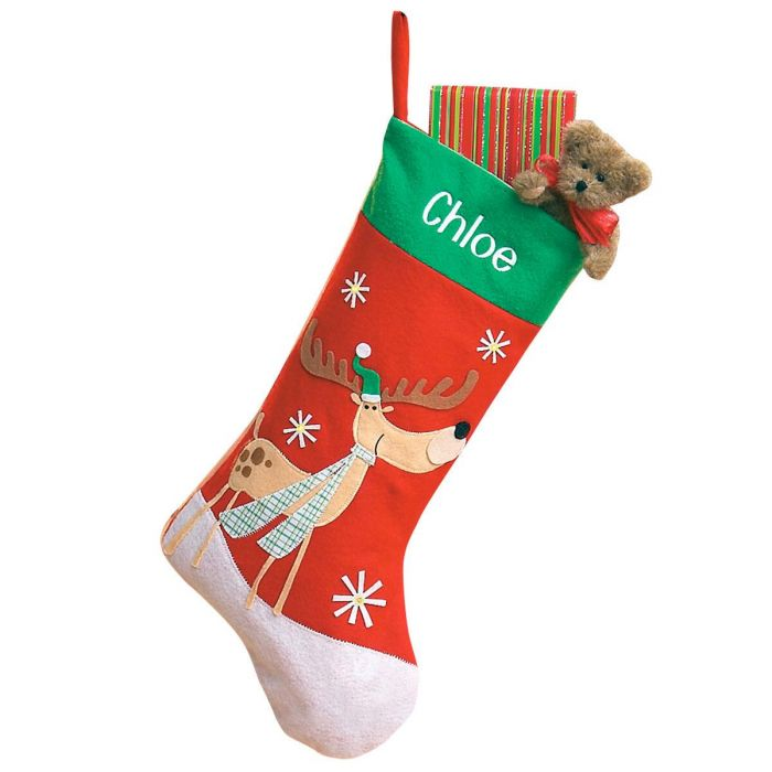 Lighted Reindeer Personalized Christmas Stocking