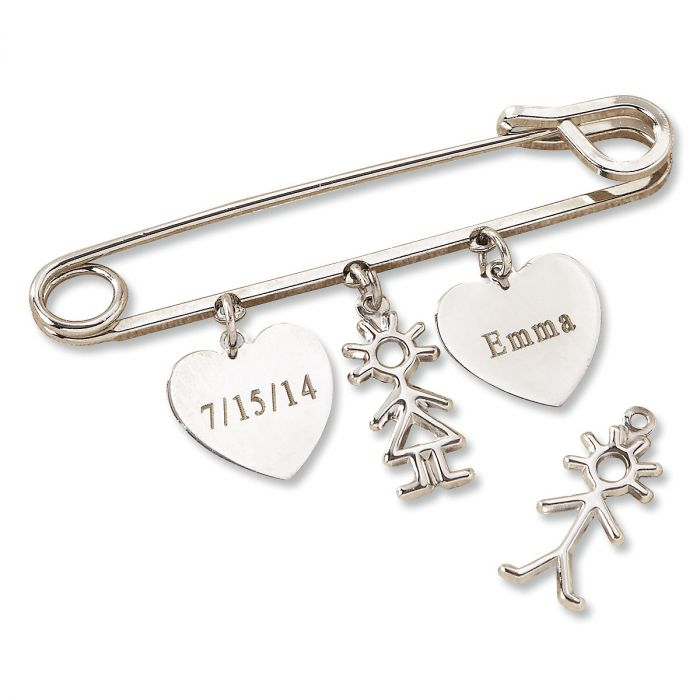 Safety Pin Lapel with Personalized Heart Charms