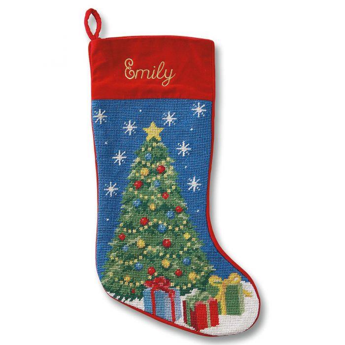 Christmas Tree Heirloom Needlepoint Personalized Christmas Stocking