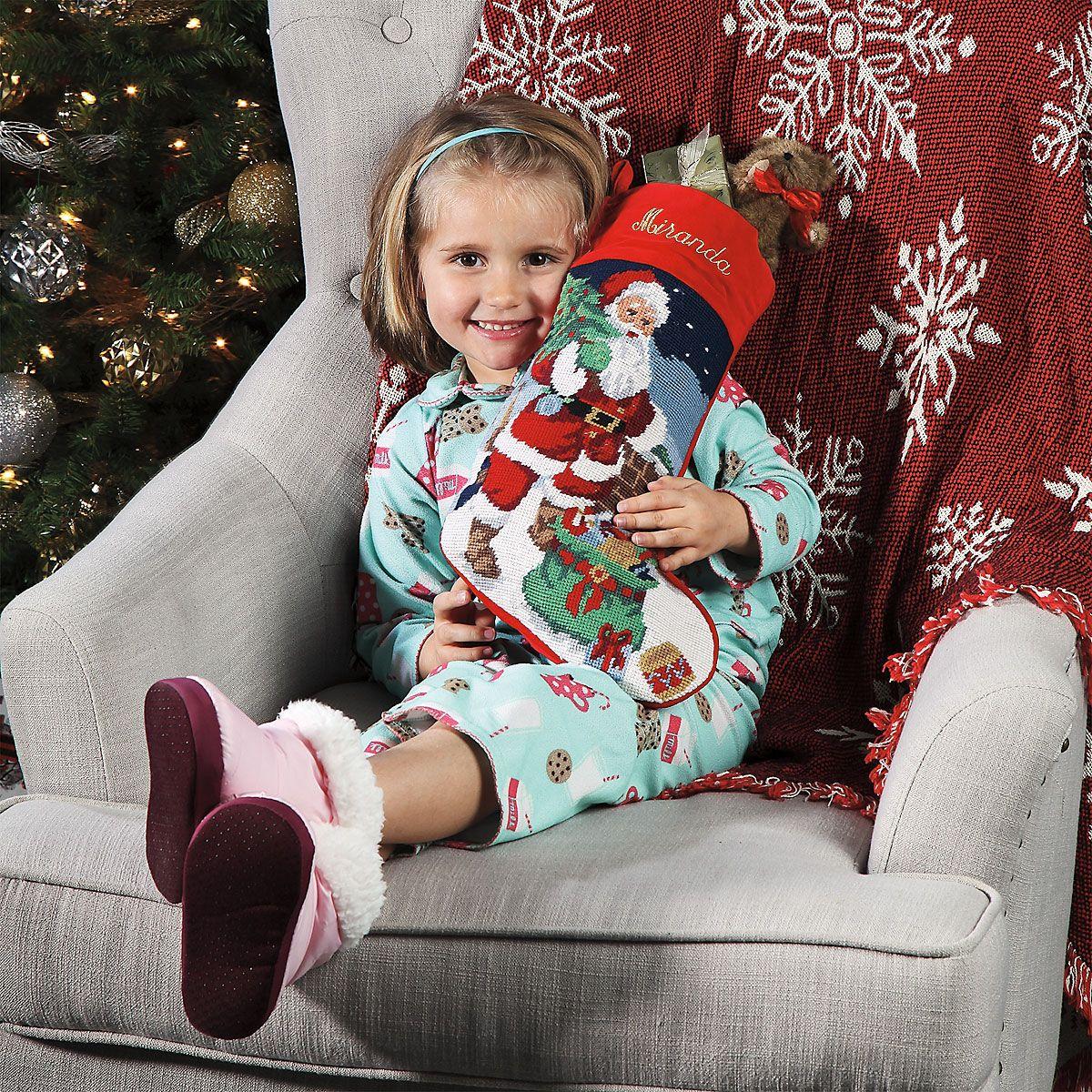 Santa Heirloom Needlepoint Personalized Christmas Stocking