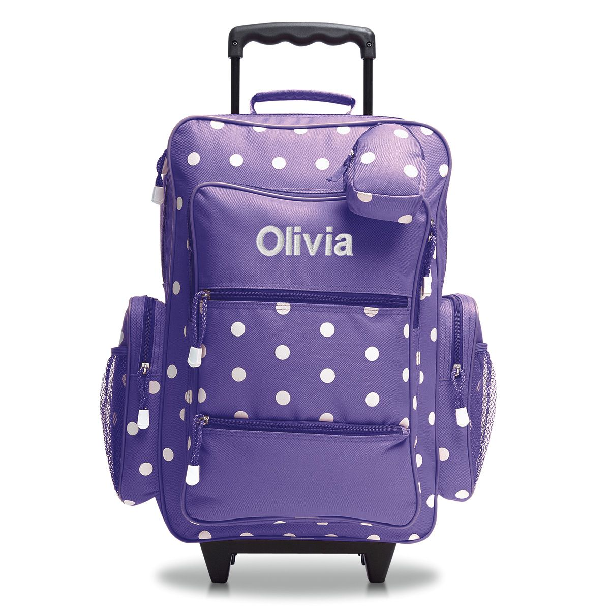 "Purple with White Dots 21"" Personalized Rolling Luggage"