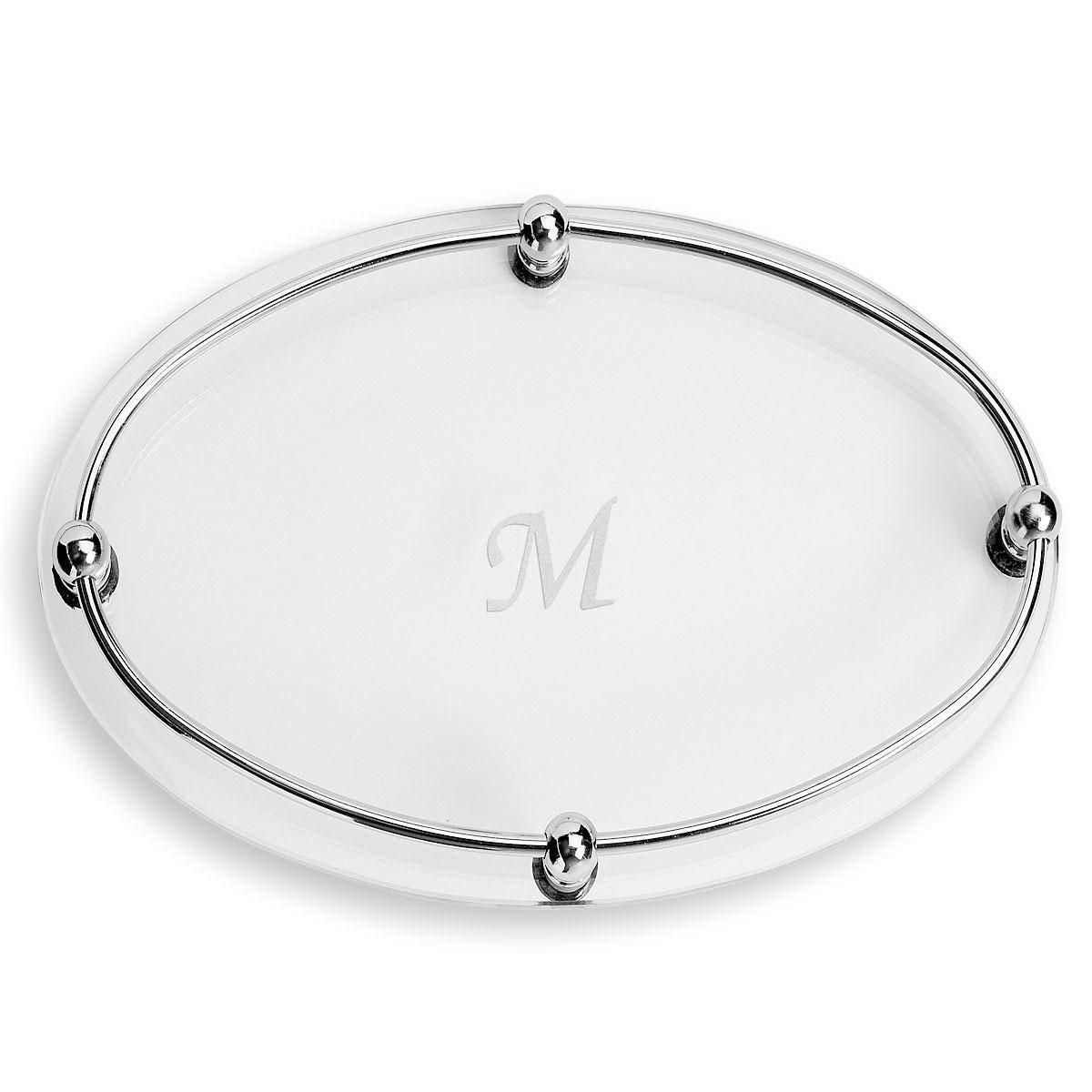 Monogrammed Glass Vanity Tray