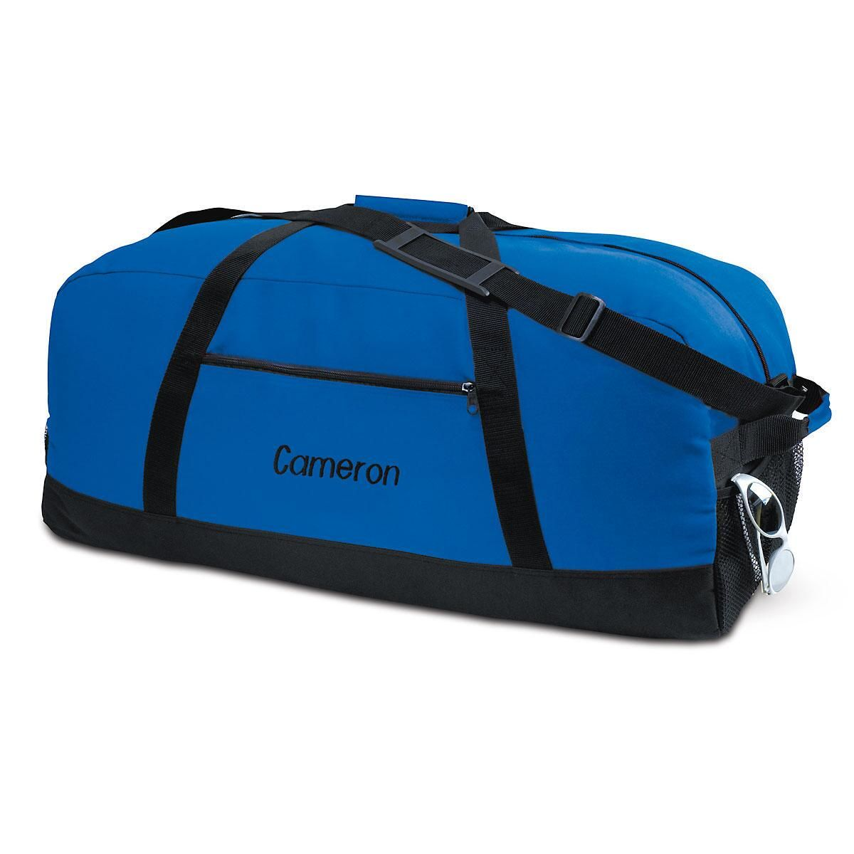 Blue and Black Duffel Bag