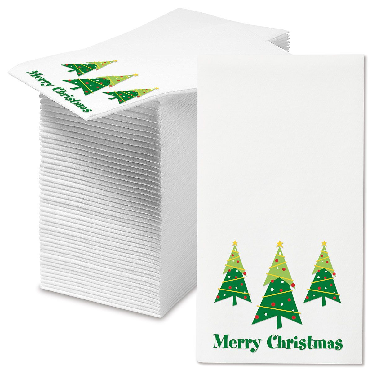 Merry Christmas Trees Disposable Hand Towels