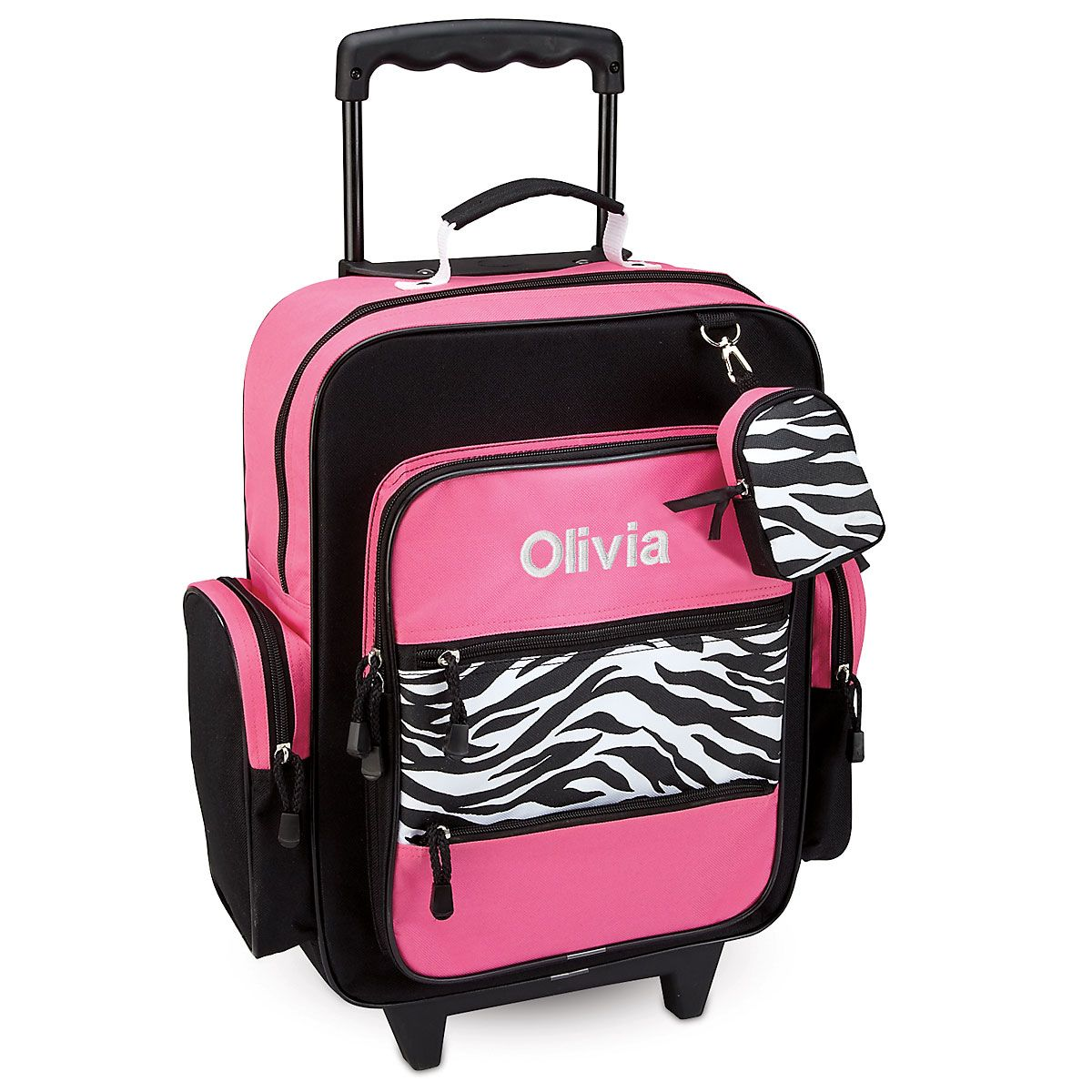 Pink with Zebra Print Personalized Rolling Luggage