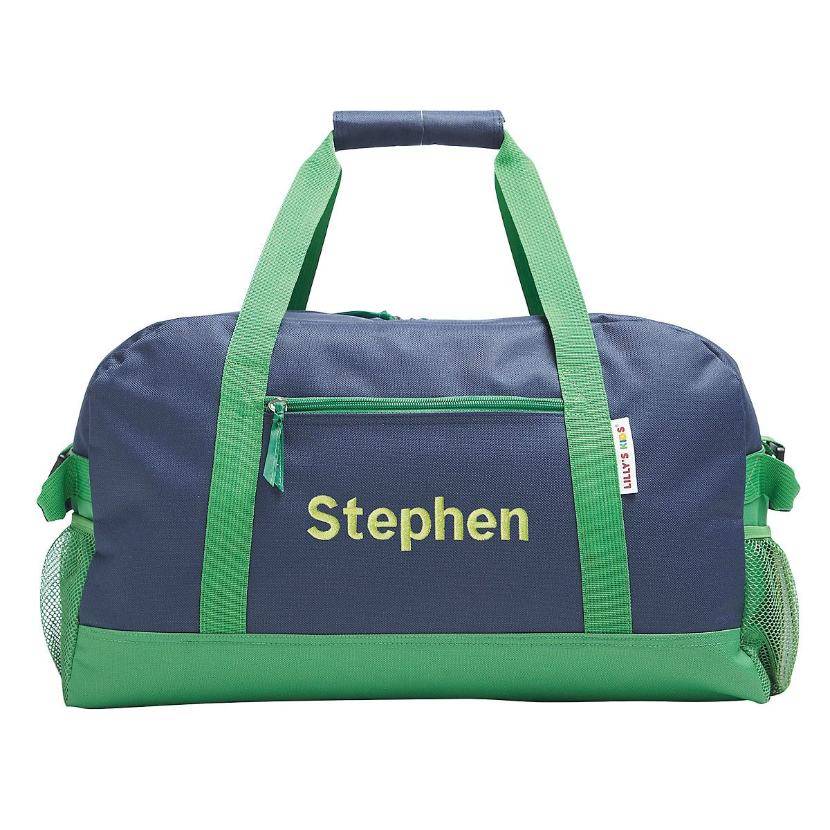 "Navy and Green 23"" Personalized Duffel Bag"