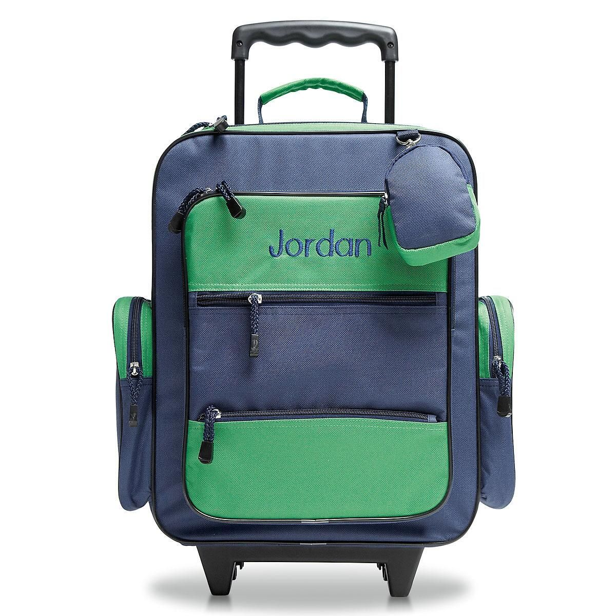 Navy and Green Rolling Luggage