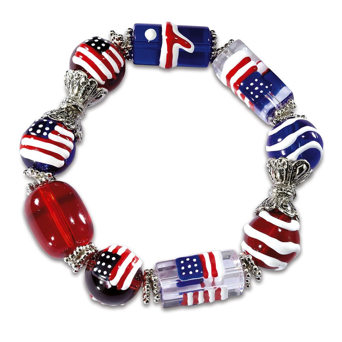 Patriotic Glass Bead Bracelet
