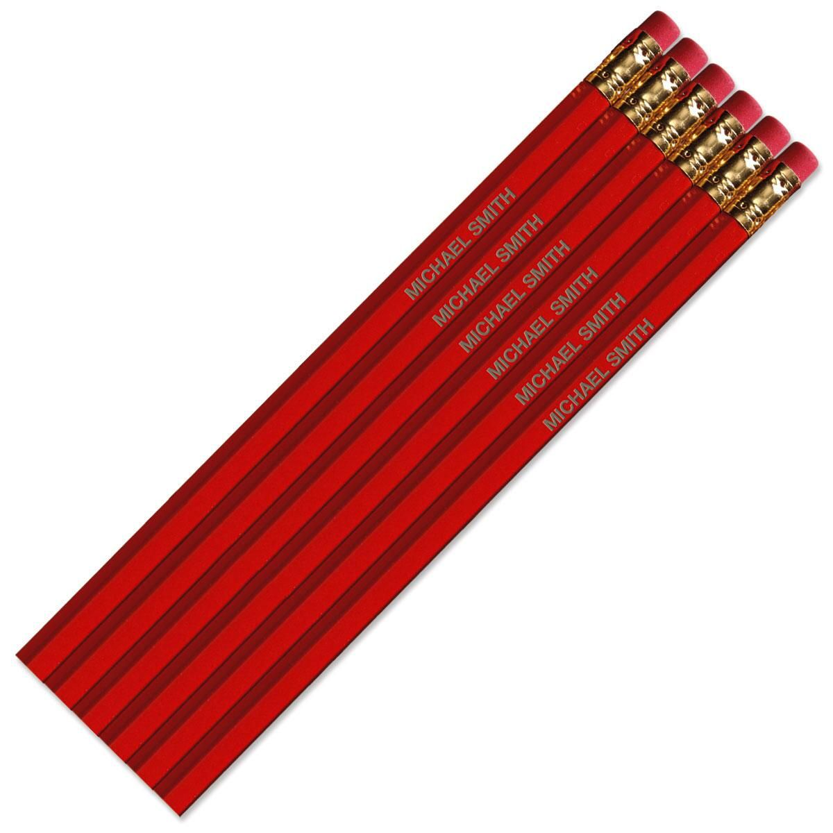 Red Personalized Pencils