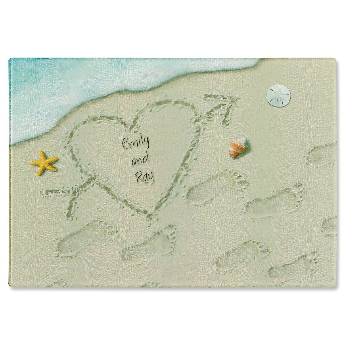 Heart in Sand Personalized Glass Cutting Board