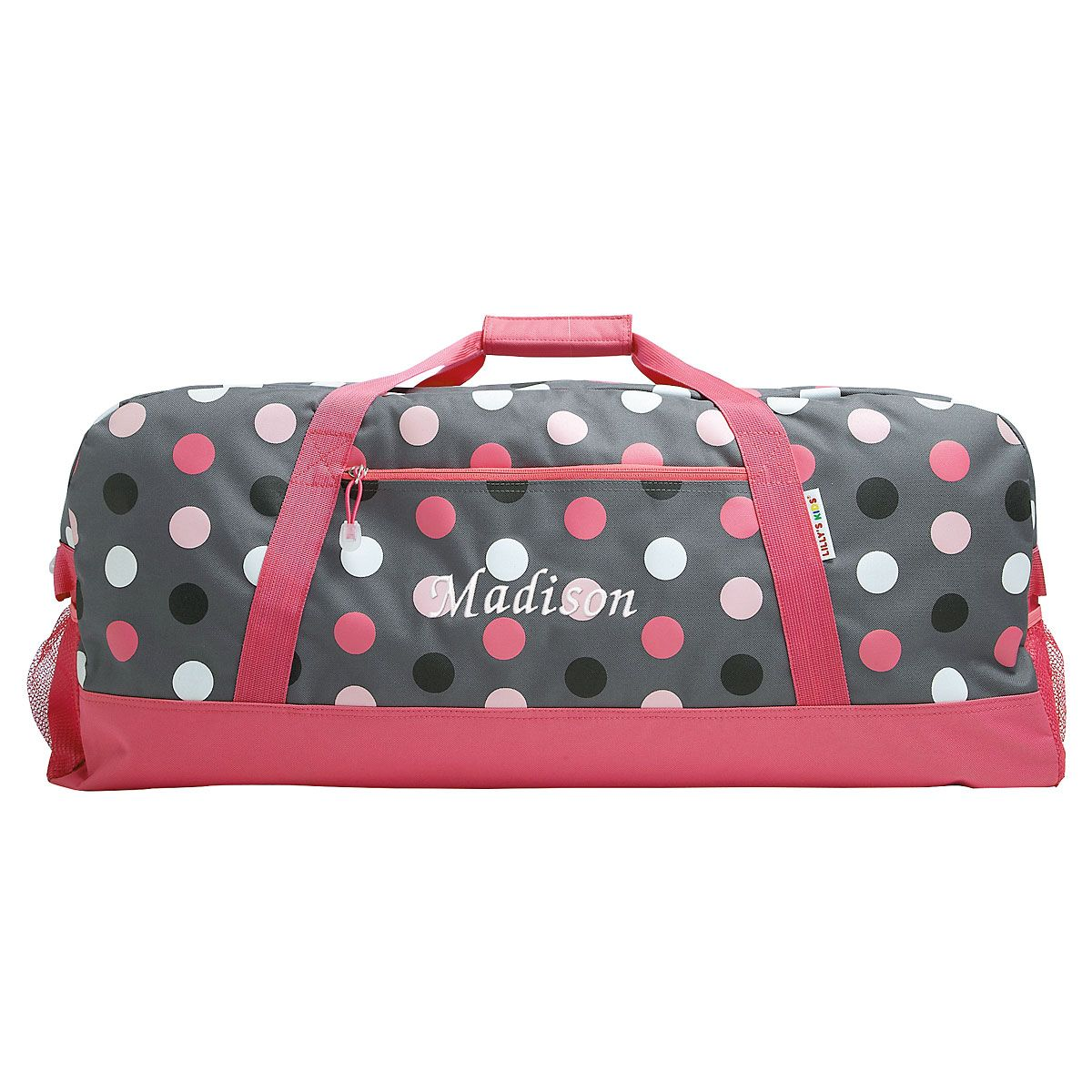 Grey Multi-Dots Personalized Duffel Bag