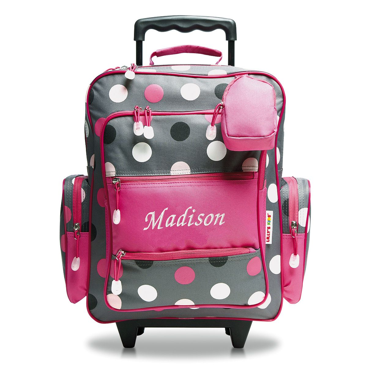 """Grey Multi-Dots 18"""" Personalized Rolling Luggage"""