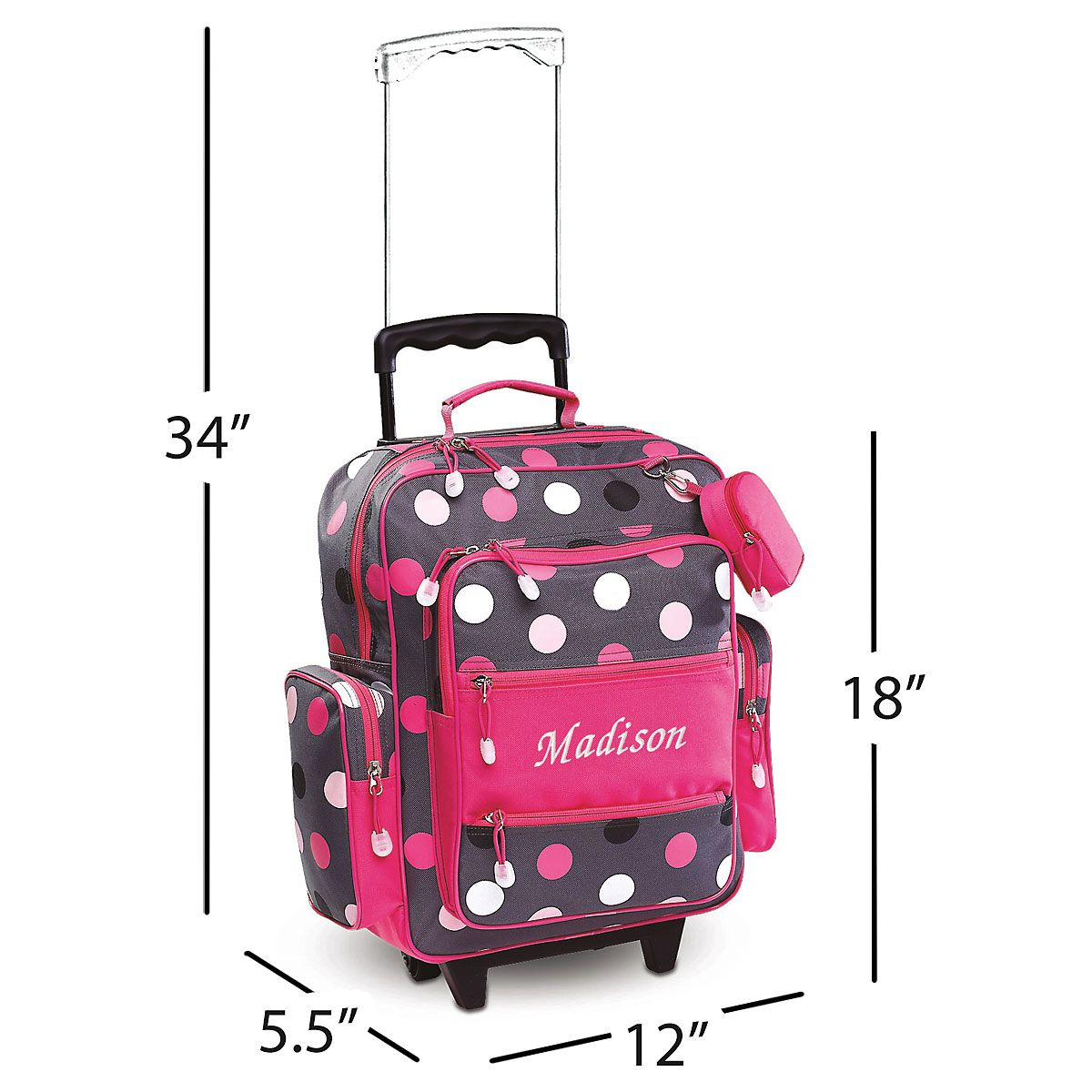 Grey Multi-Dots Personalized Rolling Luggage