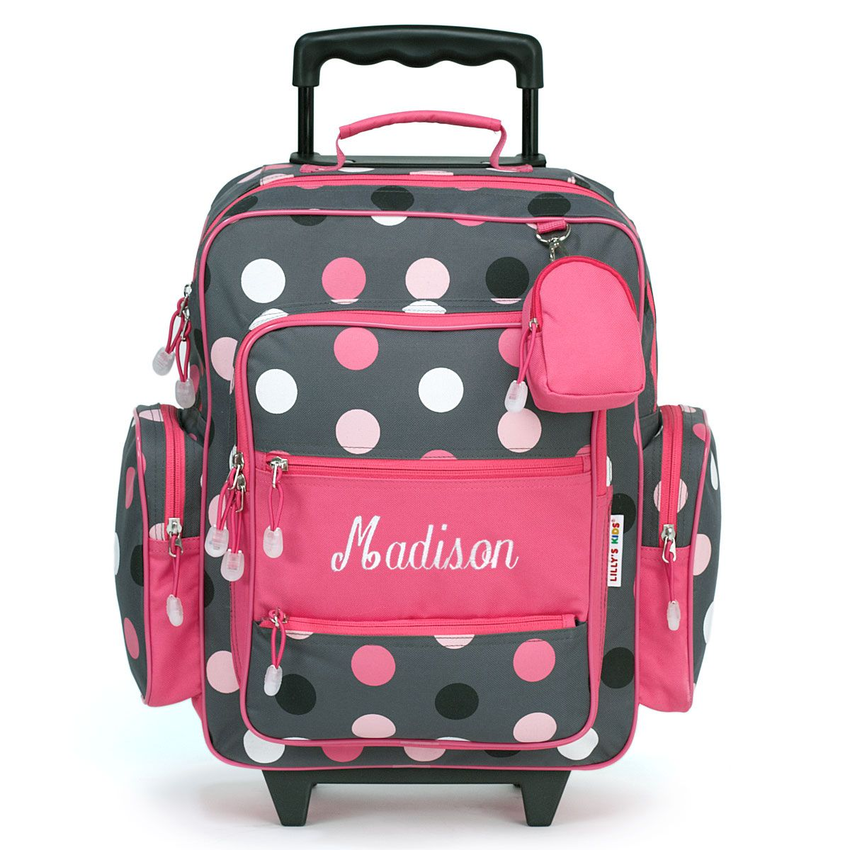 "Grey Multi-Dots 18"" Rolling Luggage"