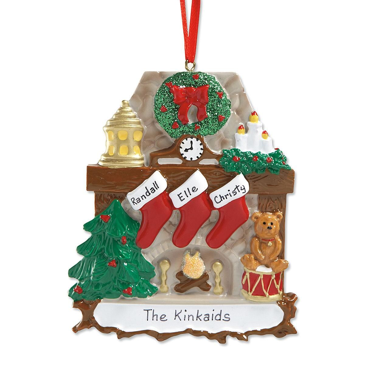 personalized christmas ornaments mantel amp chimney personalized 11867