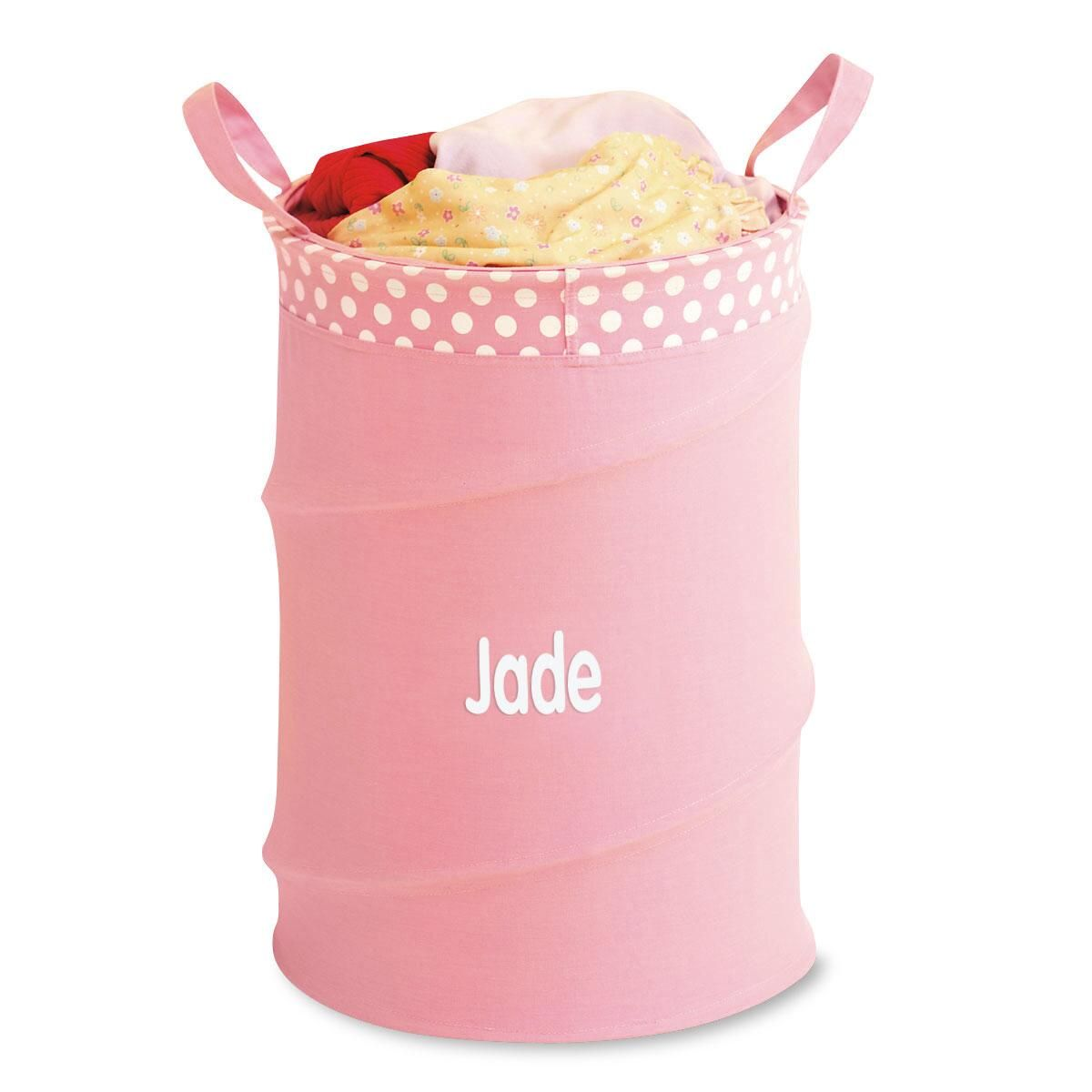Personalized Pink Collapsible Laundry Tote