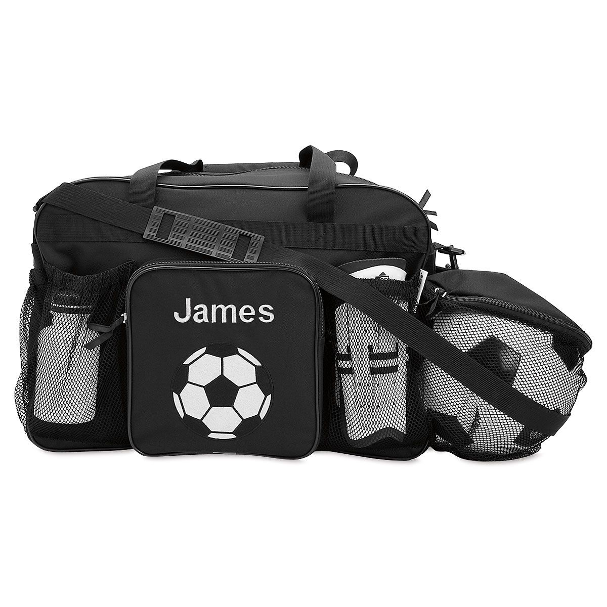 Black Personalized Soccer Sports Bag