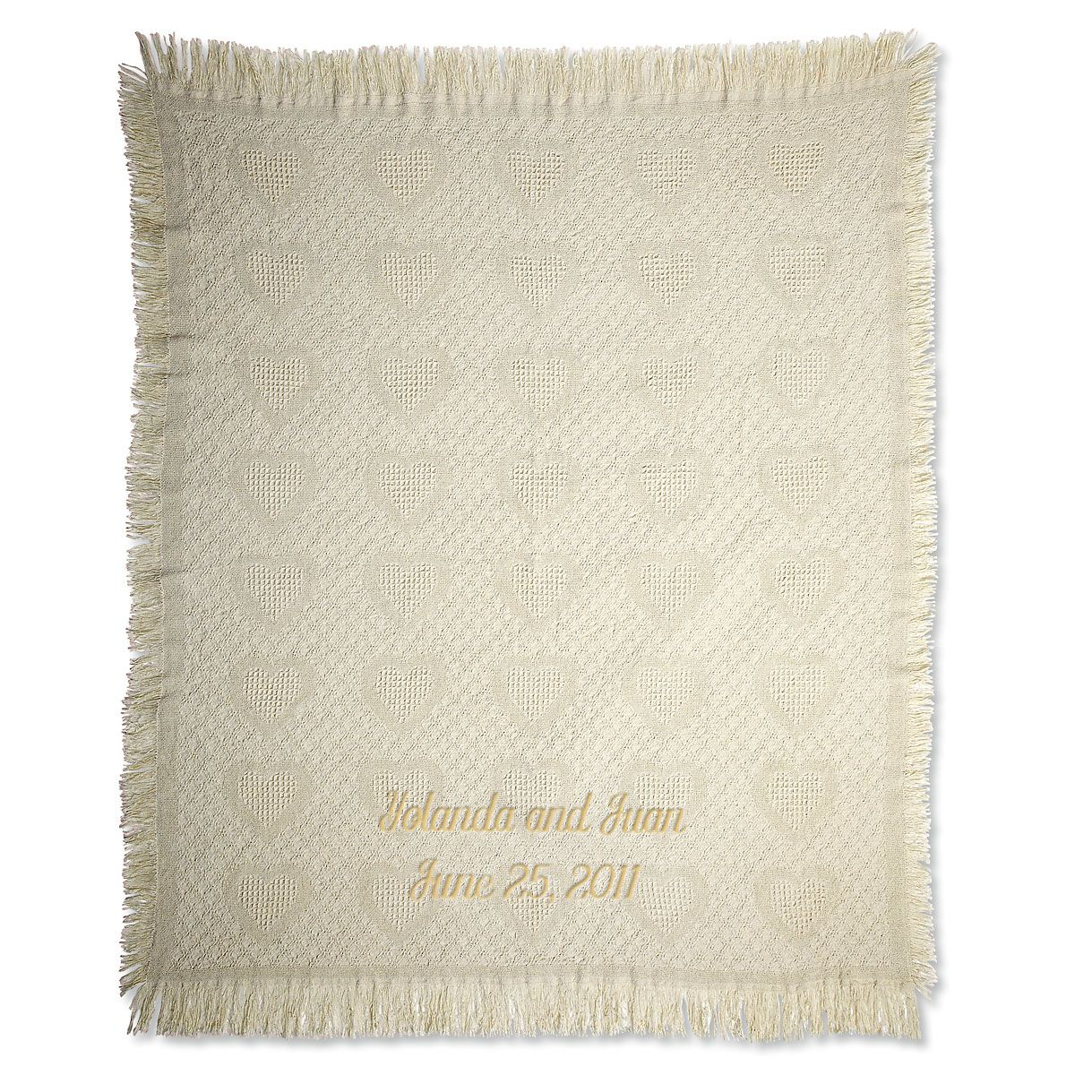 Honeycomb Heart Personalized Throw Gold Thread