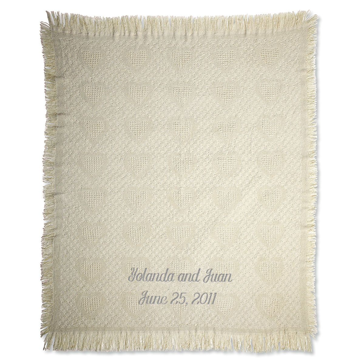 Honeycomb Heart Personalized Throw Silver Thread