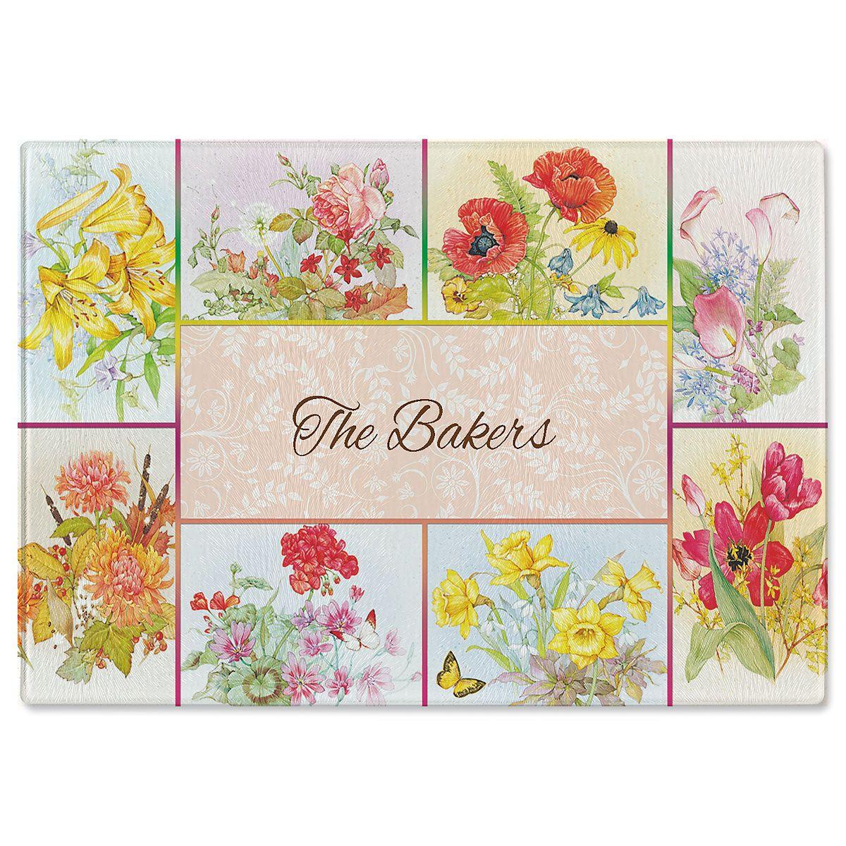 Beautiful Flowers Personalized Glass Cutting Board