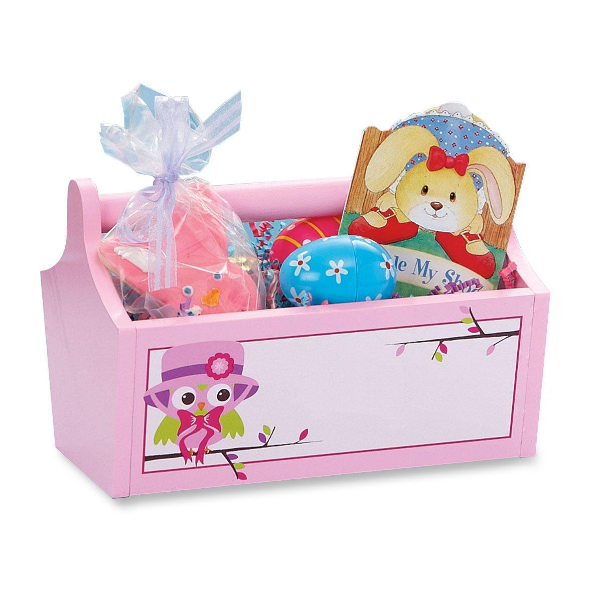 Wooden Owl Basket-Pink-811357