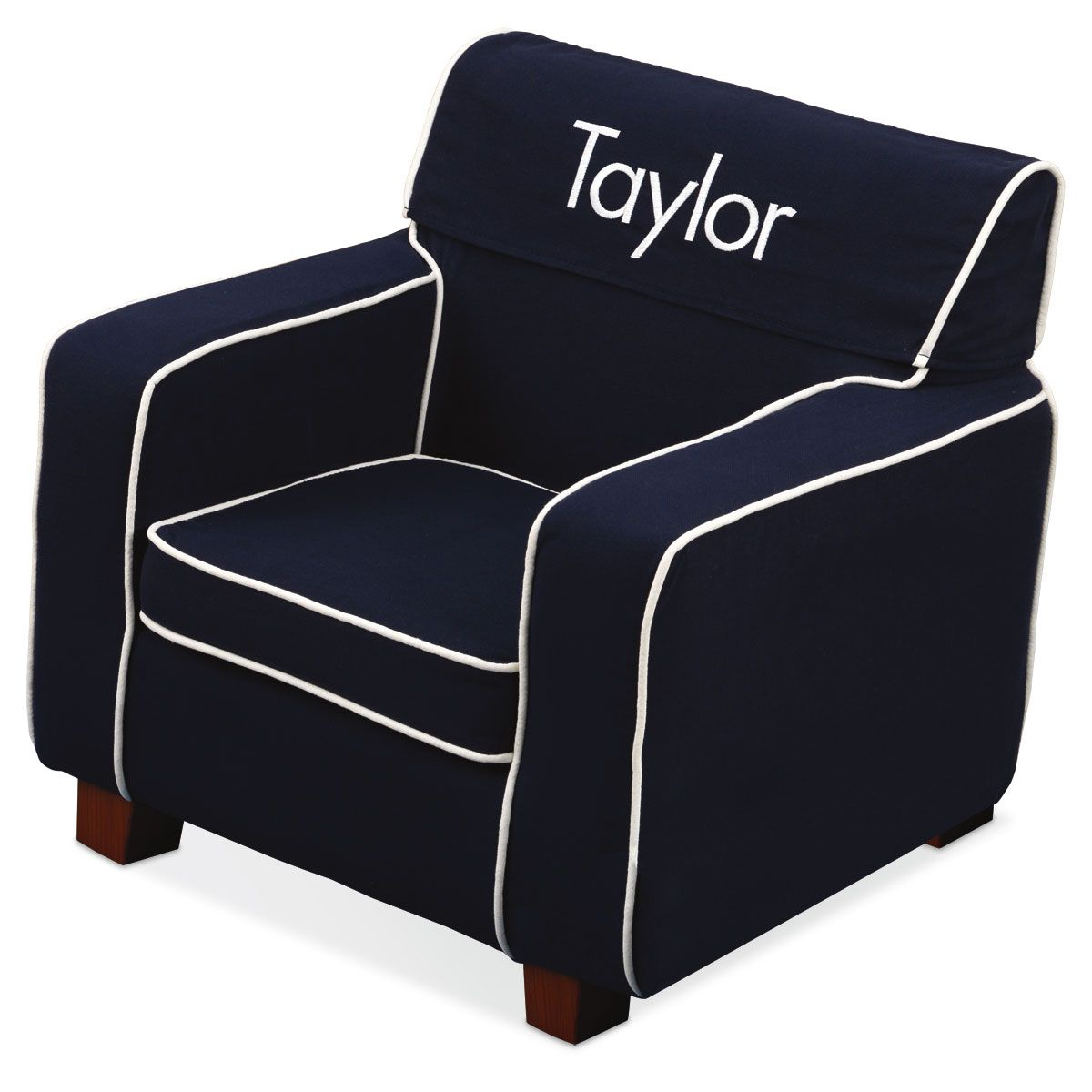 Navy Personalized Slip-Covered Laguna Chair