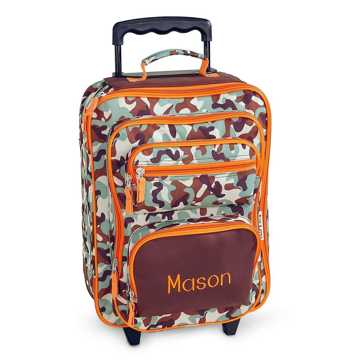 Orange/Brown Camo Rolling Luggage