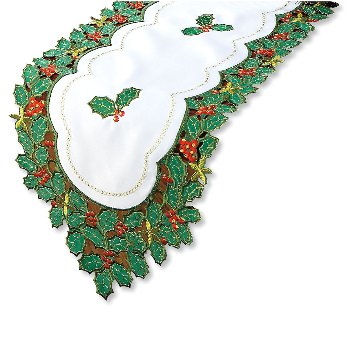 Emroidered Holly Table Linens