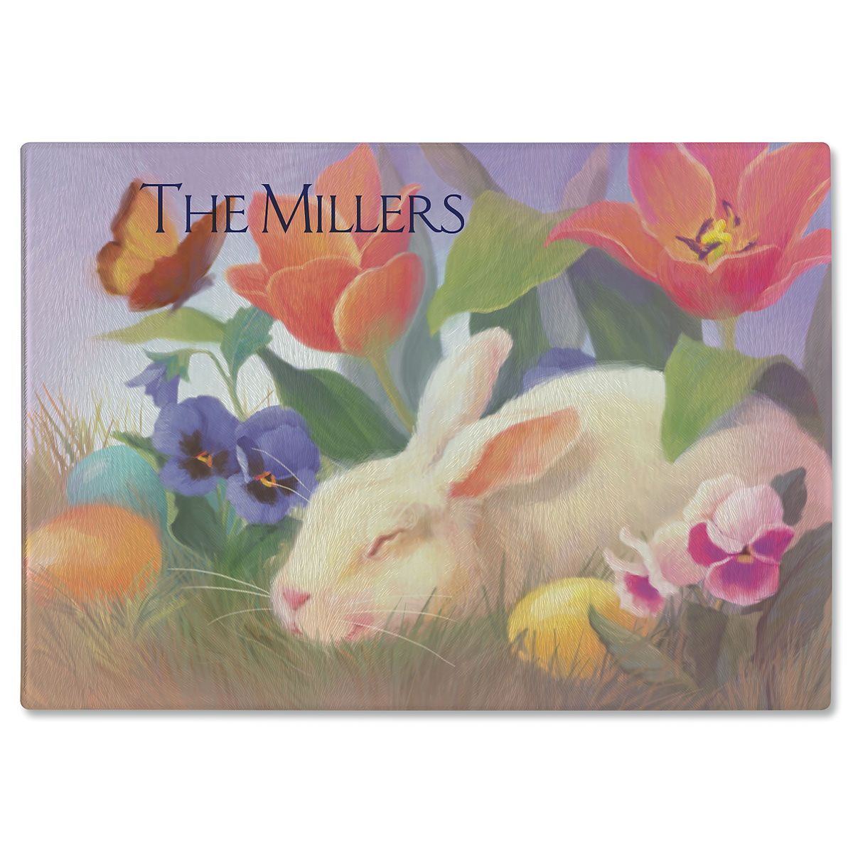 Irresistible Bunny Personalized Glass Cutting Board
