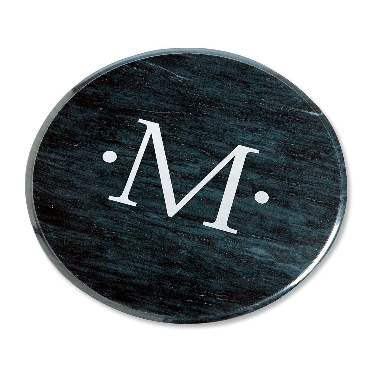 Monogrammed Marble Lazy Susan in Black