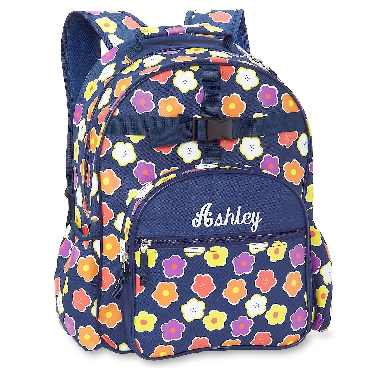 Navy Floral Personalized Backpack