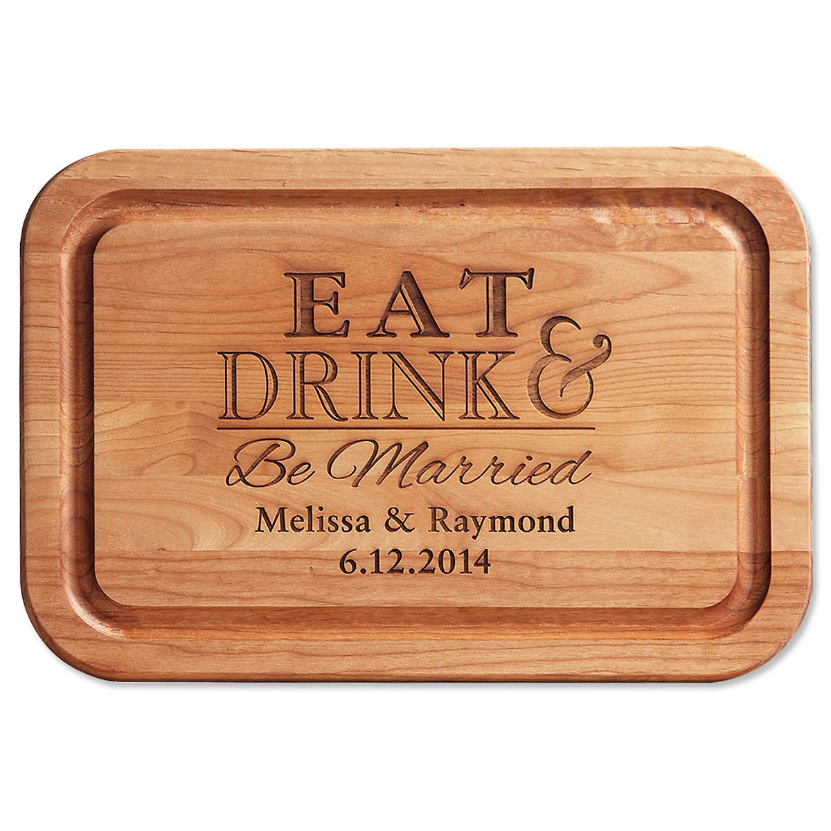 Eat, Drink, Be Married Personalized Alder Wood Cutting Board