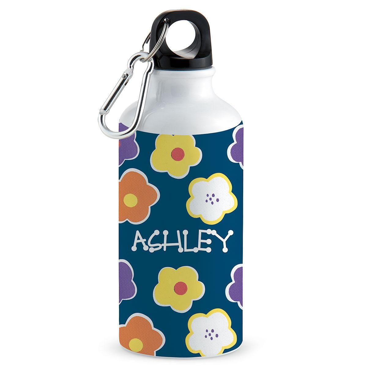 Navy Floral Water Bottle