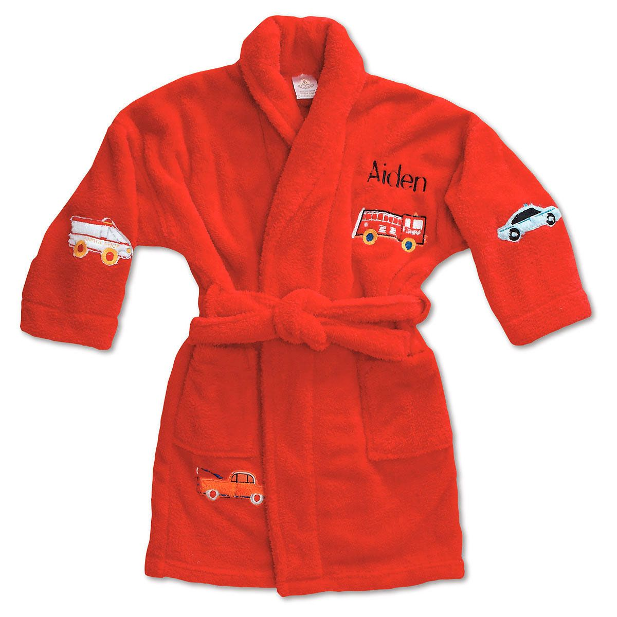 Red Plush Terry Robes-45-814723A