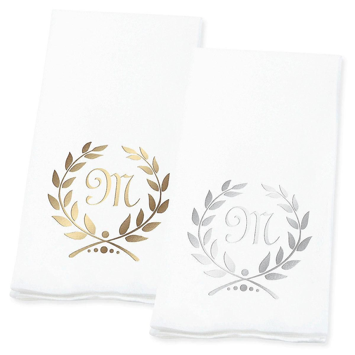 Wreath Initial Foil-Stamped Disposable Hand Towels