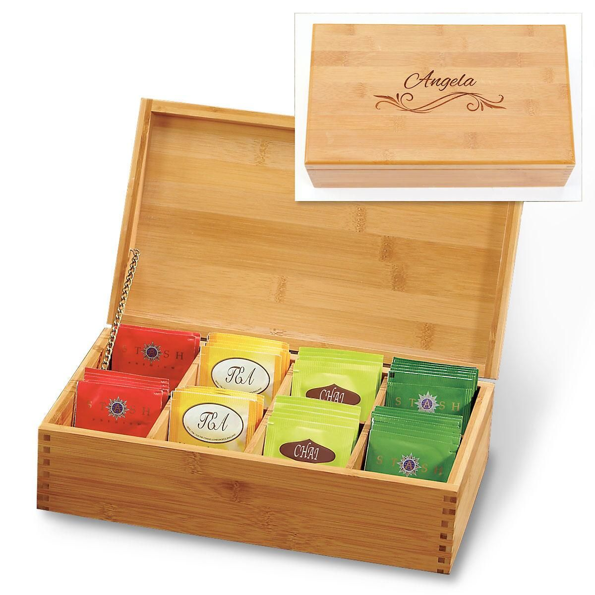 Engraved Flourish Bamboo Tea Box