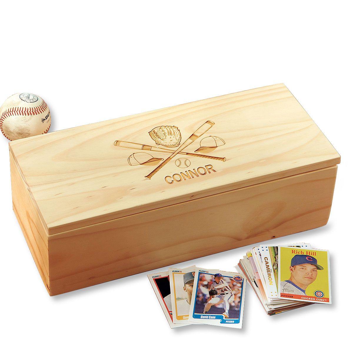 Crossed Bats Personalized Baseball Card Storage Box
