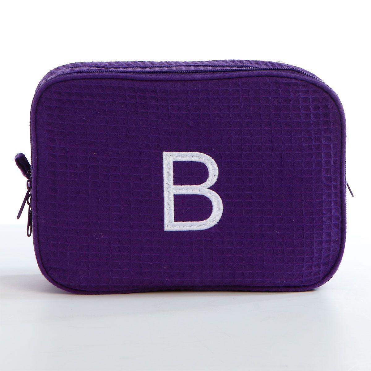 Waffle Weave Cosmetic Bag-Purple-815639C