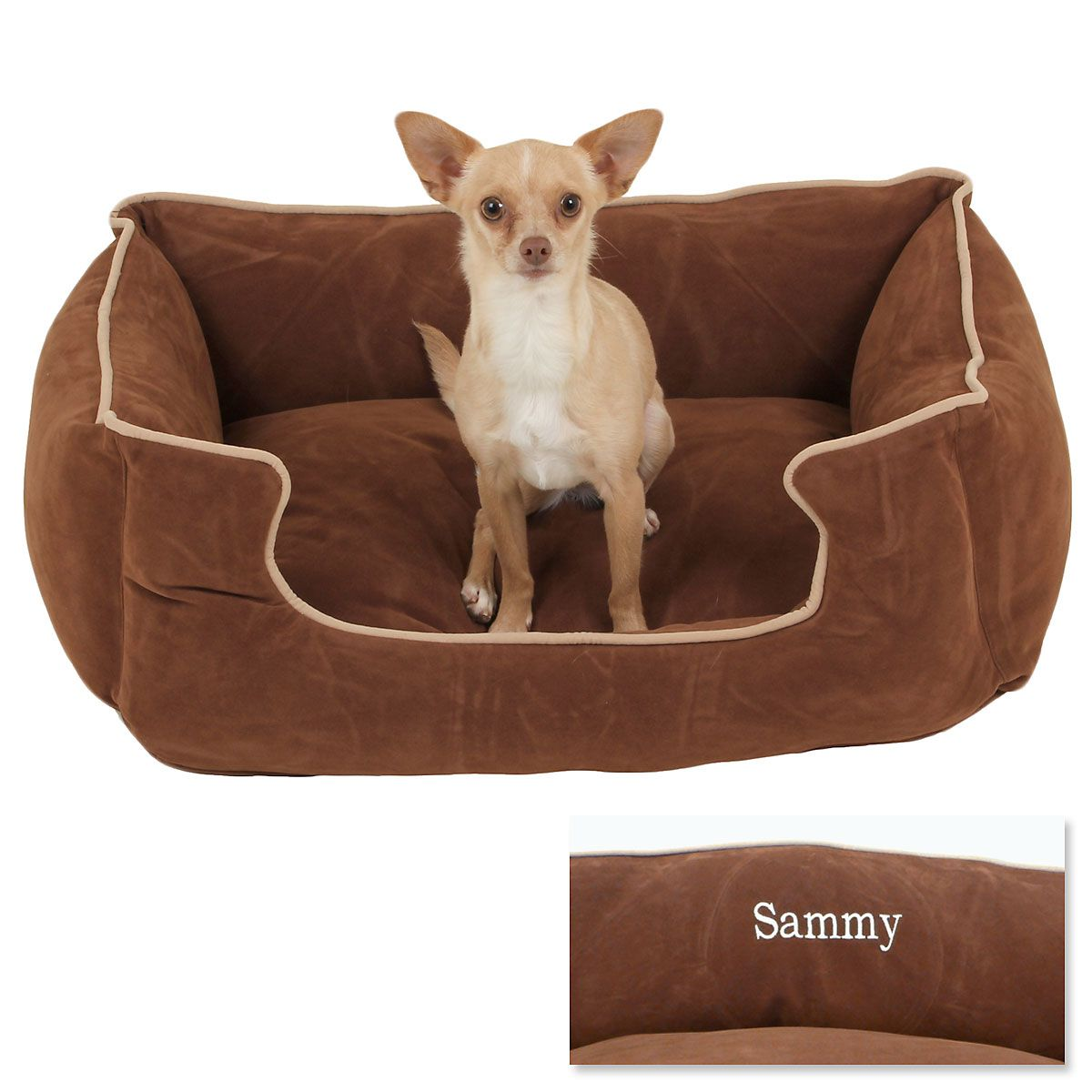 Small Low Profile Pet Bed - Chocolate