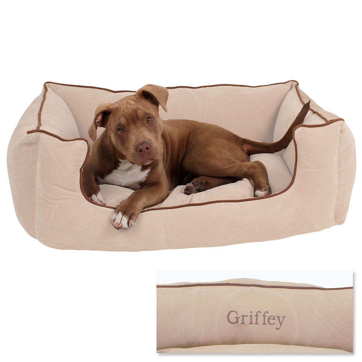 Large Low Profile Pet Bed - Linen