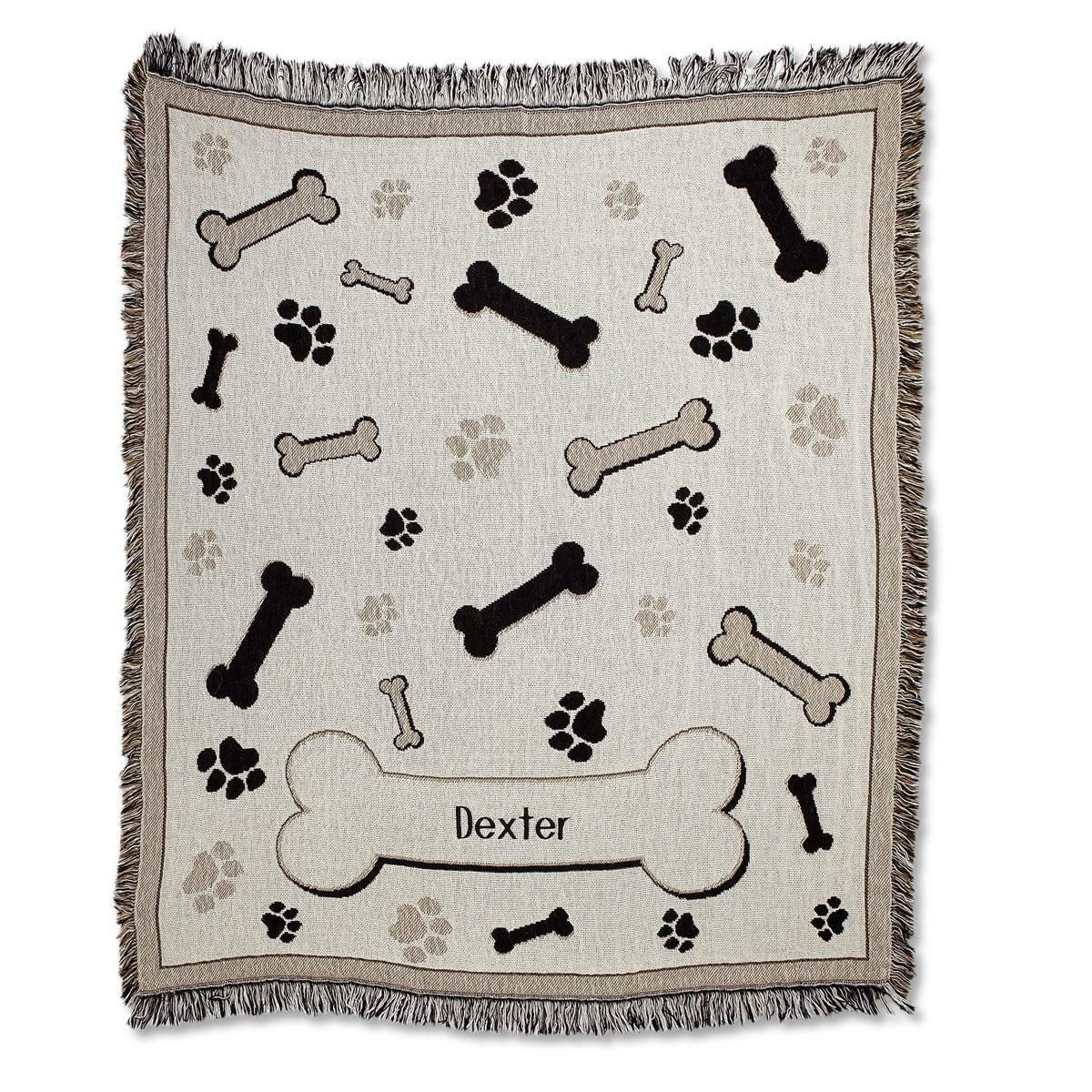 Bones and Paw Prints Pet Personalized Throw