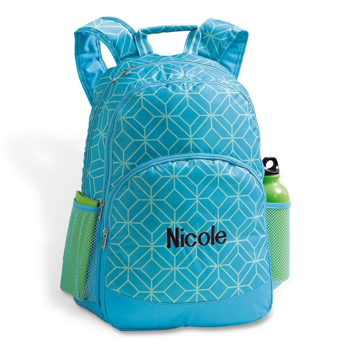Turquoise Geo Personalized Backpack