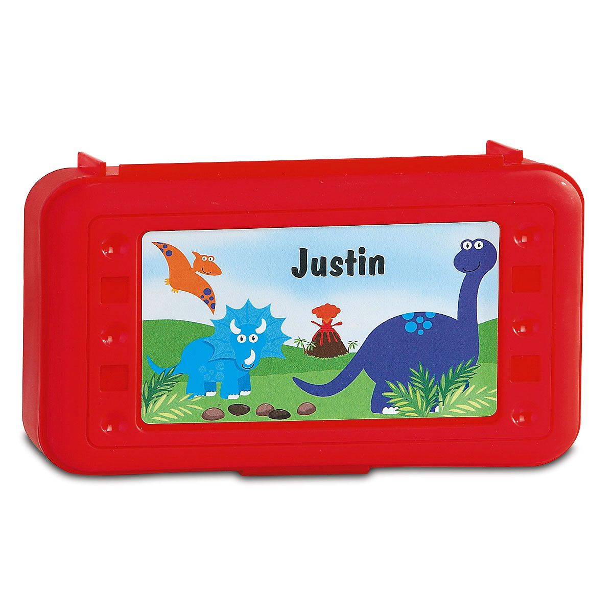 Personalized Red Dinosaur Pencil Box