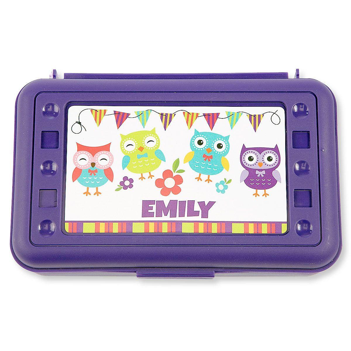 Personalized Purple Owl Pencil Box